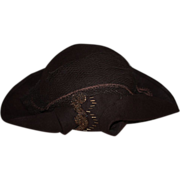 SOLD Brown Felt Belaire Hat for Bisque Dolls 1950