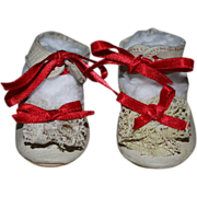 SOLD Leather Shoes with Lace Accents for German or French Bisque Doll