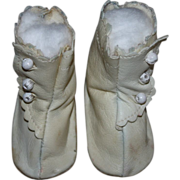 SOLD White Side-Button Boots for German or French Bisque Dolls