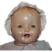 """SOLD Huge 26"""" Composition / Cloth """"Happy Baby"""" Doll Near Mint 1930s"""