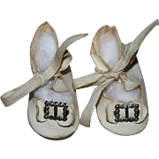 SOLD White Oilcloth Buckle Doll Shoes for Composition Dolls 1930s