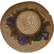SOLD Beautiful Straw Hat with Flowers for French or German Bisque Doll