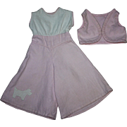 Two Piece Pink and White Doll Jumpsuit with Scotty Dog 1930s