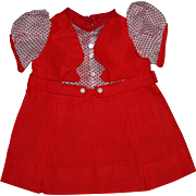 Red and White Jumper Doll Dress for Shirley Temple and Friends 1930s