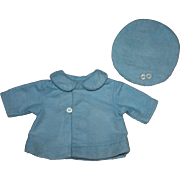Blue Flannel Doll Coat and Tam for Composition Dolls 1930s