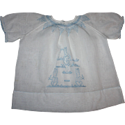 SOLD Sweet White Baby Dress with Blue Embroidered Bunnies 1930