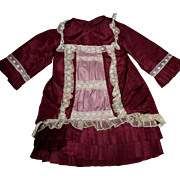 Burgundy and Pink Taffeta Dropped Waist Dress for French or German Bisque