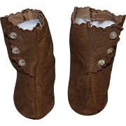 SOLD Brown Suede Side-Button Doll Boots for German or French Bisque Dolls