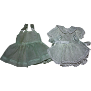 SOLD Original Tagged Terri Lee Doll Green Organdy Dress and Pinafore 1950s