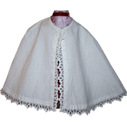SOLD White Ribbed Cotton Cape for German or French Bisque Early 1900's