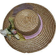 SOLD Lovely Straw Hat for Large German or French Bisque Dolls