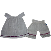 Eyelet Dress and Bloomers for Small Bisque Dolls Early 1900s
