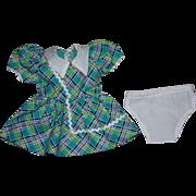 Green Plaid Dress and Underwear for Hard Plastic Dolls 1950