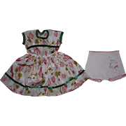 Floral Dress and Underwear for Hard Plastic Dolls 1950s