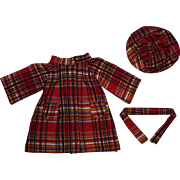 Red Plaid Coat and Hat for Hard Plastic and Composition Dolls 1940