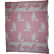 Pink and White Bear Blanket for Baby Dolls 1930