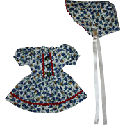 Dress and Bonnet for Hard Plastic and Composition Dolls 1950