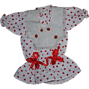 Red and White Polka Dot Doll Dress for French or German Bisque Dolls