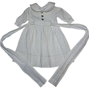 Light Cream Broadcloth Doll Dress for Bisque or Composition Dolls
