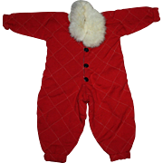 Red Doll Snowsuit with White Fur Collar for Composition Dolls 1940