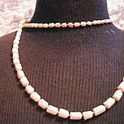 "Vintage Angel skin Coral Necklace 35"" Carved Tulips"