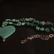 Lovely Artisan Howlite, Chinese Turquoise, and Sterling Necklace