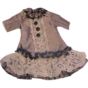 Silk and Lace Dropped Waist Dress for Cabinet Sized doll