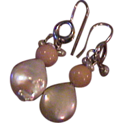 Sterling Silver, Coin Pearl, and Coral Earrings
