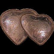 Vintage Ladies Western Buckle - Double Hearts