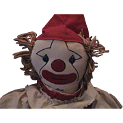 SOLD 1940's Hand Made Clown Doll
