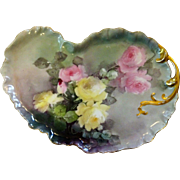 Antique Hand Painted Roses Dresser Tray