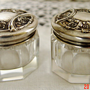 SOLD Sterling and Glass Dresser Jars by Waltrous Mfg. Co.