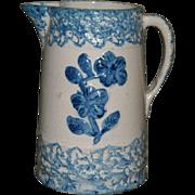 Wild Rose Blue & White Stoneware Pitcher