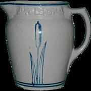 Rare Blue & White Cattail Pitcher