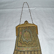 SALE Vintage Whiting and Davis Golden Mesh Purse with Mirror