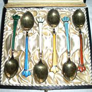 Danish Sterling Guilloche Enamel Demitasse Spoons