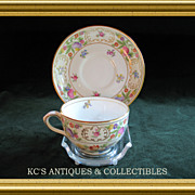 Cup and Saucer 'Dresden Sprays' by Hammersley China Co. Hand painted colorful floral déco