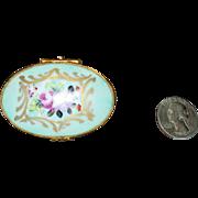 French white & light blue porcelain pill box; Marked on bottom