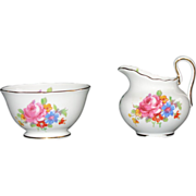 Royal Chelsea English Bone China Sugar Bowl & Matching Creamer