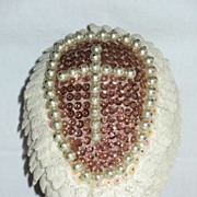 Large Handmade Decorated Styrofoam Egg with Cross