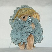 Adorable Stuffed Girl Mouse all dressed up in Blue for Easter
