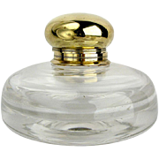 Handsome Vintage Blown Glass Round Inkwell With Brass Lid