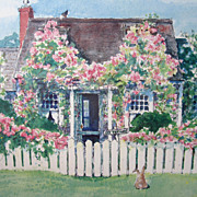 SOLD Print Nantucket Cottage in Siasconset Signed Barbara Kauffmann Locke Numbered 11/350