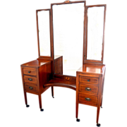 Widdicomb Triple Mirror Mahogany Vanity with Marquetry and Bench Late 19th Century
