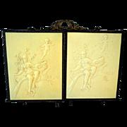 Antique Victorian 1800's Celluloid Cherubs Tri-Fold Vanity Mirror