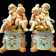 Boudoir Lamps Pair with Cherub/Putti/Angel