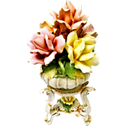 Capodimonte Basket of Roses Centerpiece with Stand