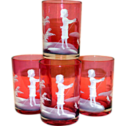 Cranberry Mary Gregory Art Glass Tumblers/Goblets Enameled Boy Fishing Four
