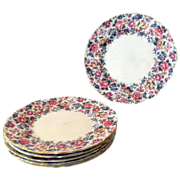 Crown Staffordshire cake salad plates Pattern Springtime six