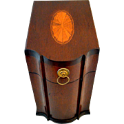 SOLD English Mahogany Letter Box with Marquetry